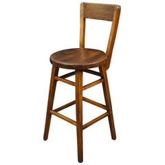 Antique American Oak Counter Bar Stool Chair Farmhouse Country