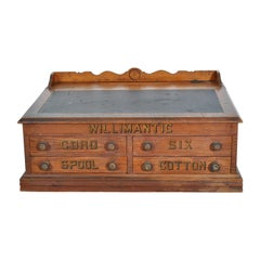 Antique American Oak Mercantile Country Store Desk Spool Cabinet, Willimantic
