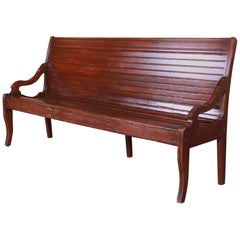 Antique American Oak Train Depot Railroad Bench, circa 1900
