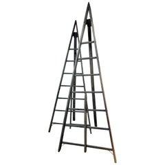 Antique American Peak Top A Frame Harvest Ladders