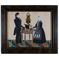 Antique American Boston Colonial Folk Art Portrait Painting, Courting Couple