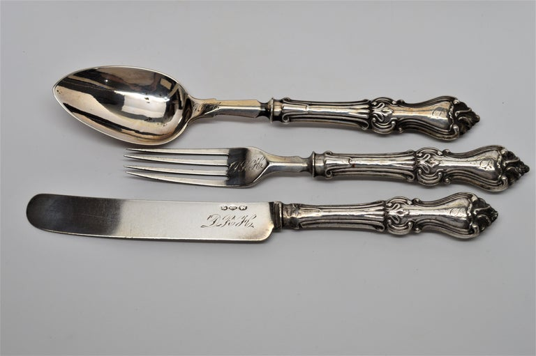 Women's or Men's Antique American Personal Travel Sterling Silver Flatware Set For Sale
