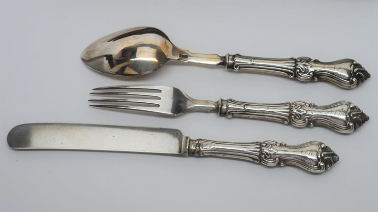 Antique American Personal Travel Sterling Silver Flatware Set For Sale 2