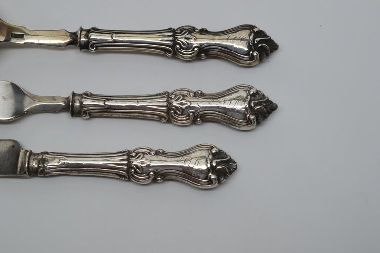 Antique American Personal Travel Sterling Silver Flatware Set For Sale 3