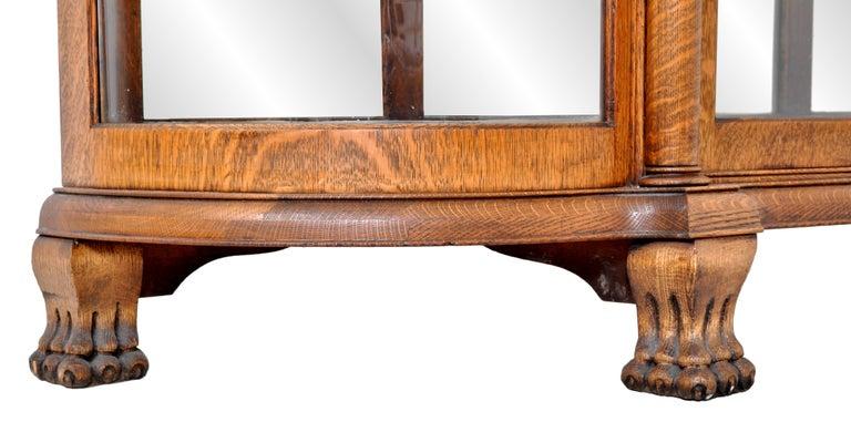 Antique American R J Horner Carved Oak Winged Griffin China Hutch Cabinet, 1890 4