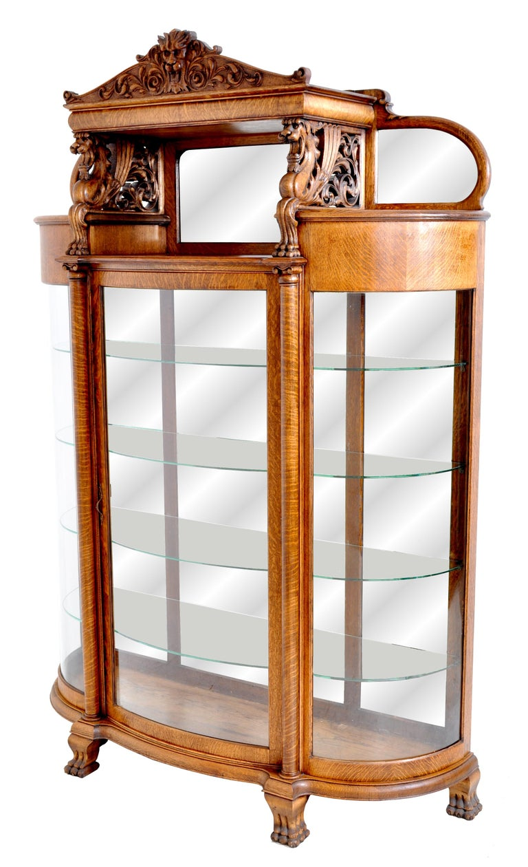 Late Victorian Antique American R J Horner Carved Oak Winged Griffin China Hutch Cabinet, 1890