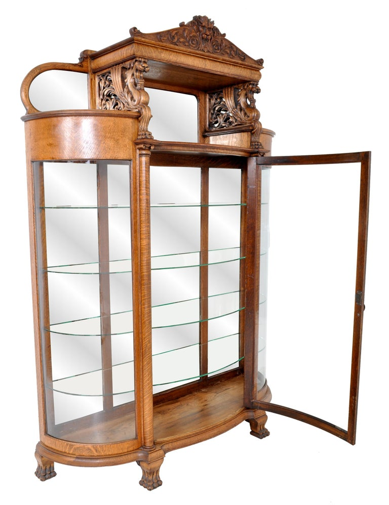 Hand-Carved Antique American R J Horner Carved Oak Winged Griffin China Hutch Cabinet, 1890