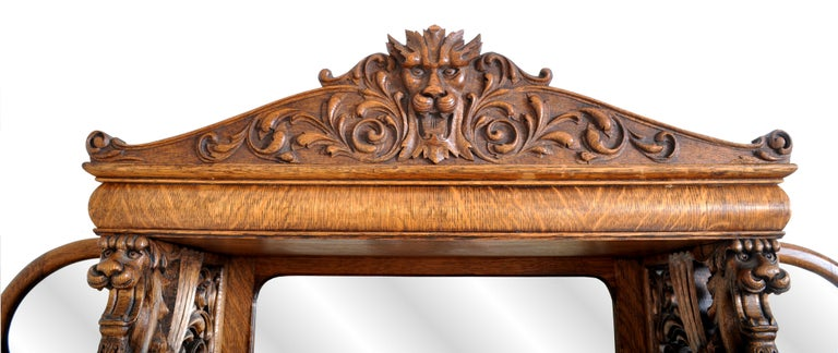 Antique American R J Horner Carved Oak Winged Griffin China Hutch Cabinet, 1890 In Good Condition In Portland, OR