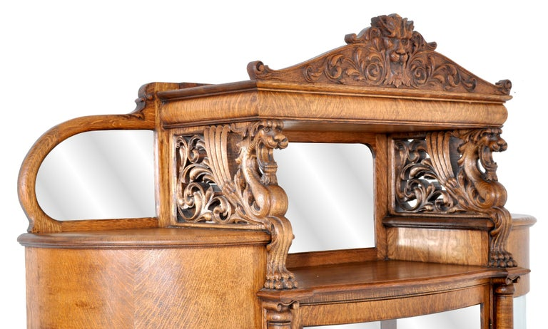 19th Century Antique American R J Horner Carved Oak Winged Griffin China Hutch Cabinet, 1890