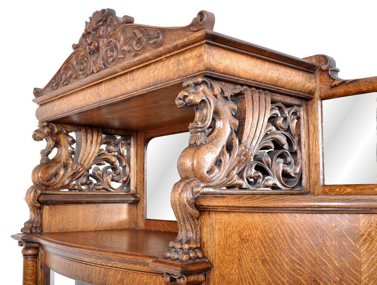 Antique American R J Horner Carved Oak Winged Griffin China Hutch Cabinet, 1890 1