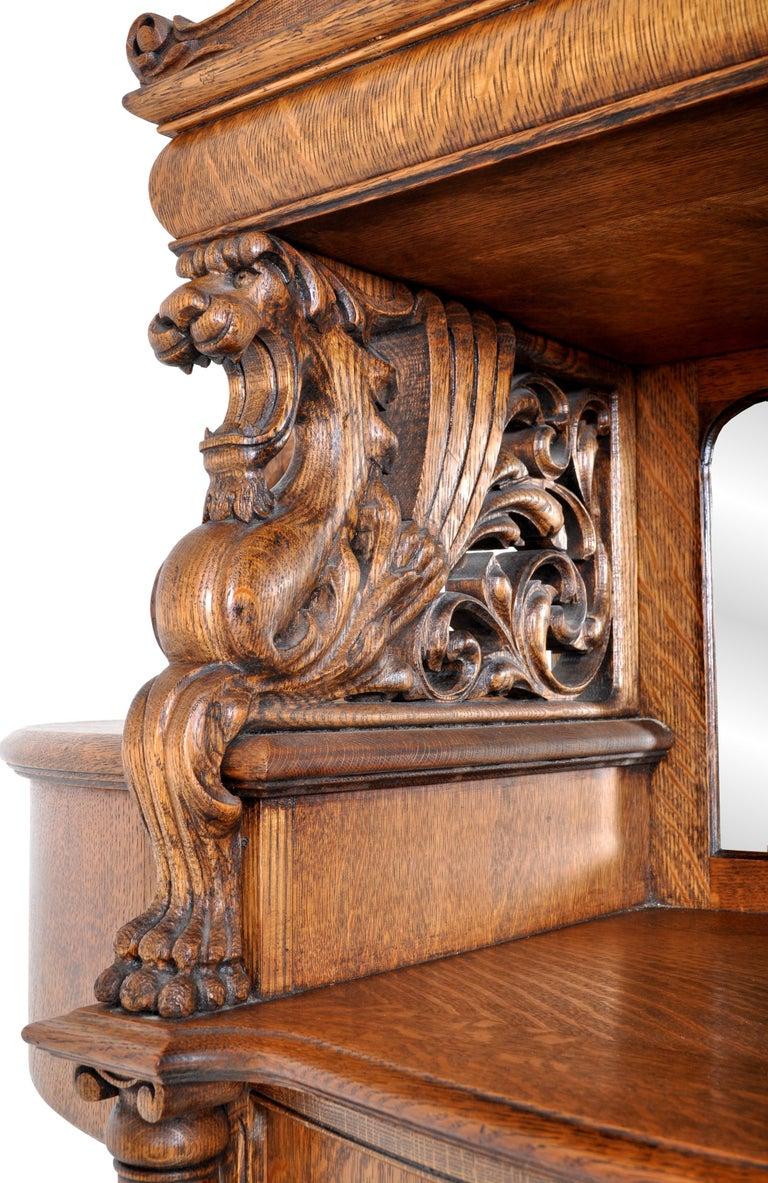 Antique American R J Horner Carved Oak Winged Griffin China Hutch Cabinet, 1890 2