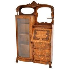 Antique American R J Horner Quarter Sawn Oak Carved Griffin Desk China Hutch