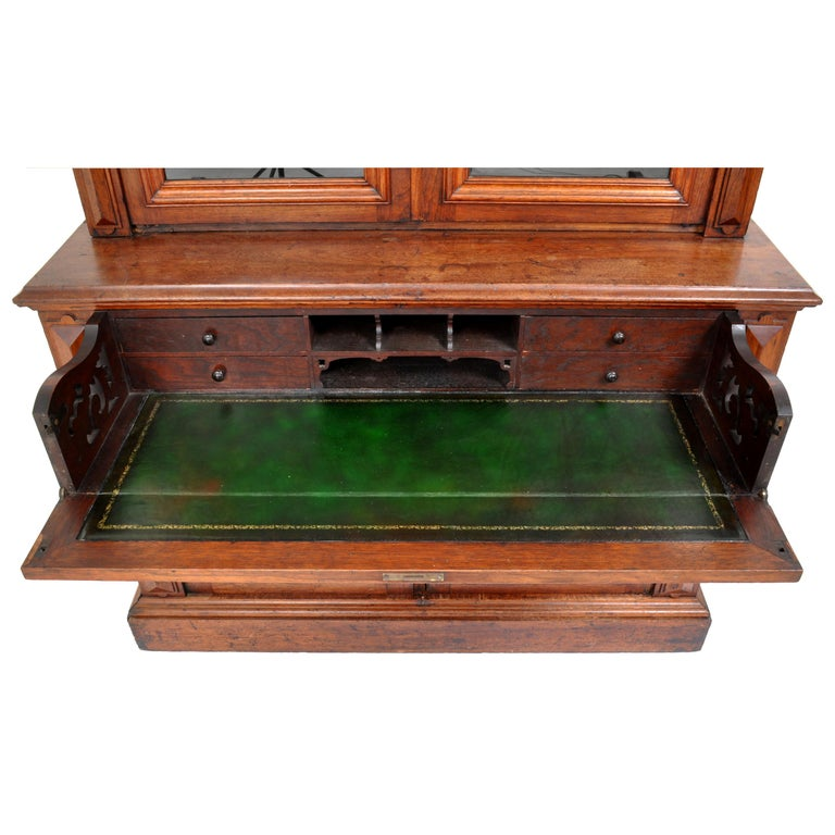 Antique American Renaissance Revival Carved Walnut Secretary Desk Bookcase, 1870 For Sale 6