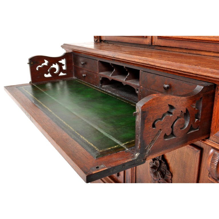 Antique American Renaissance Revival Carved Walnut Secretary Desk Bookcase, 1870 For Sale 7