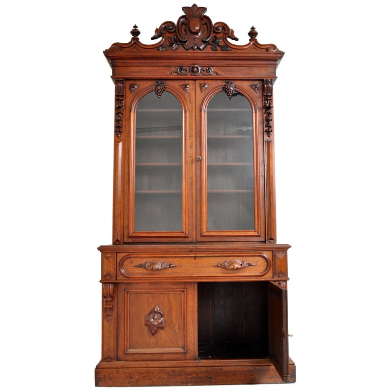 Antique American Renaissance Revival Carved Walnut Secretary Desk Bookcase, 1870 For Sale 8