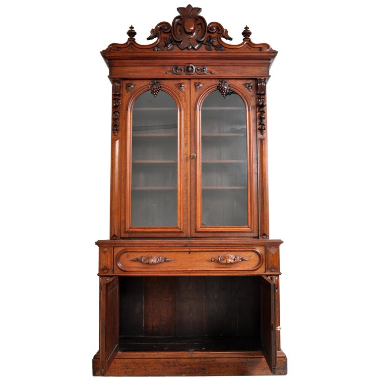 Antique American Renaissance Revival Carved Walnut Secretary Desk Bookcase, 1870 For Sale 9