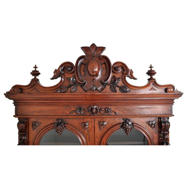 Late 19th Century Antique American Renaissance Revival Carved Walnut Secretary Desk Bookcase, 1870 For Sale