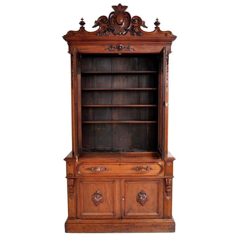 Antique American Renaissance Revival Carved Walnut Secretary Desk Bookcase, 1870 For Sale 2