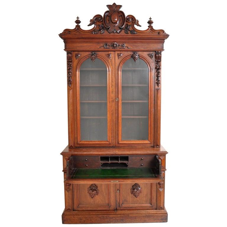 Antique American Renaissance Revival Carved Walnut Secretary Desk Bookcase, 1870 For Sale 3