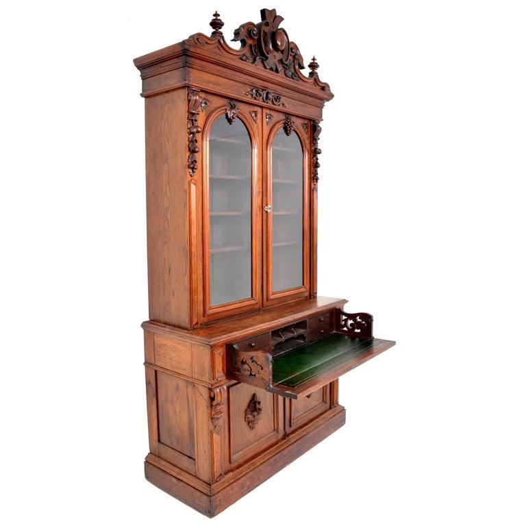 Antique American Renaissance Revival Carved Walnut Secretary Desk Bookcase, 1870 For Sale 4