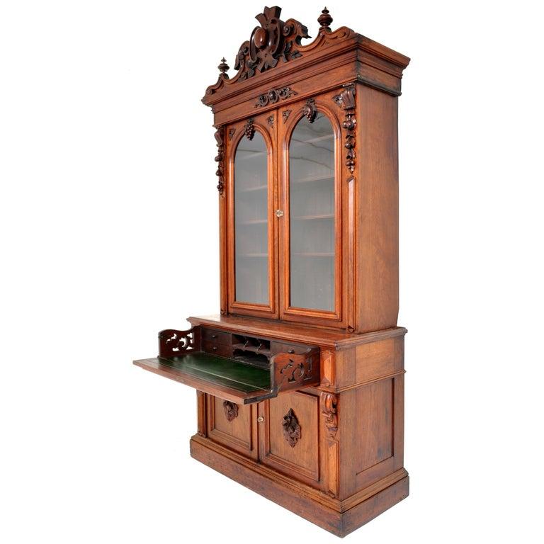 Antique American Renaissance Revival Carved Walnut Secretary Desk Bookcase, 1870 For Sale 5