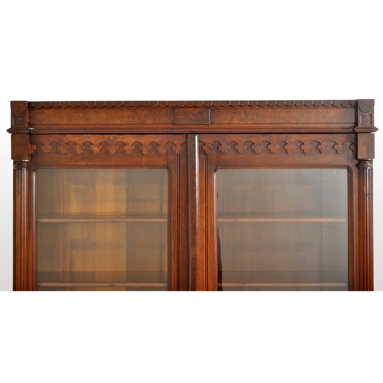 Antique American Renaissance Revival Eastlake Carved Walnut Tall Bookcase, 1875 For Sale 3