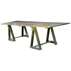 Antique American Sawhorse Base Long Harvest Table