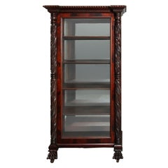 Antique American Second Empire Foliate Carved Mahogany China Cabinet, circa 1880