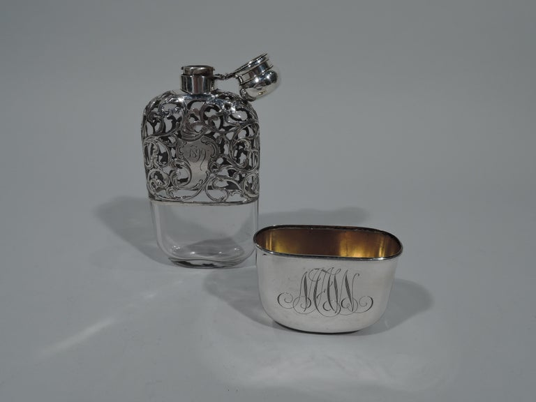 Art Nouveau Antique American Silver Overlay Lady's Medicinal Flask For Sale