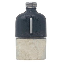 Antique American Silver Plated Leather Flask, Circa 1900