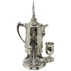 Antique American Silver-Plated Tilting Pitcher on Stand with Cup, circa 1870s
