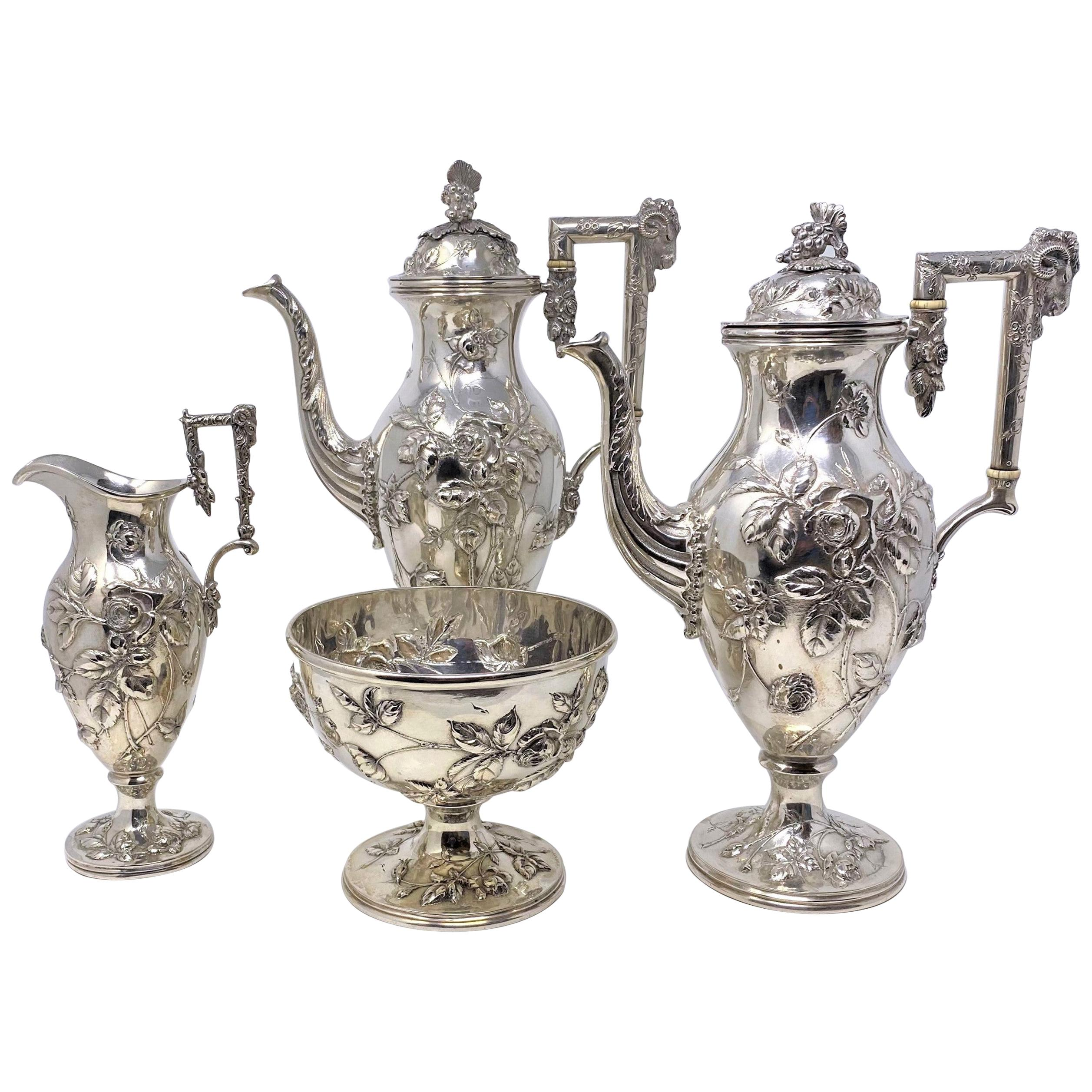 """Antique American Sterling Silver 4-Piece Tea Set Signed """"S. Kirk and Sons,"""" 1890"""
