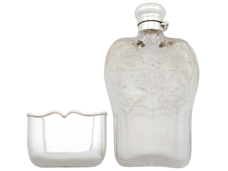 Antique American Sterling Silver and Glass Hip Flask, 1897 In Excellent Condition For Sale In Jesmond, Newcastle Upon Tyne