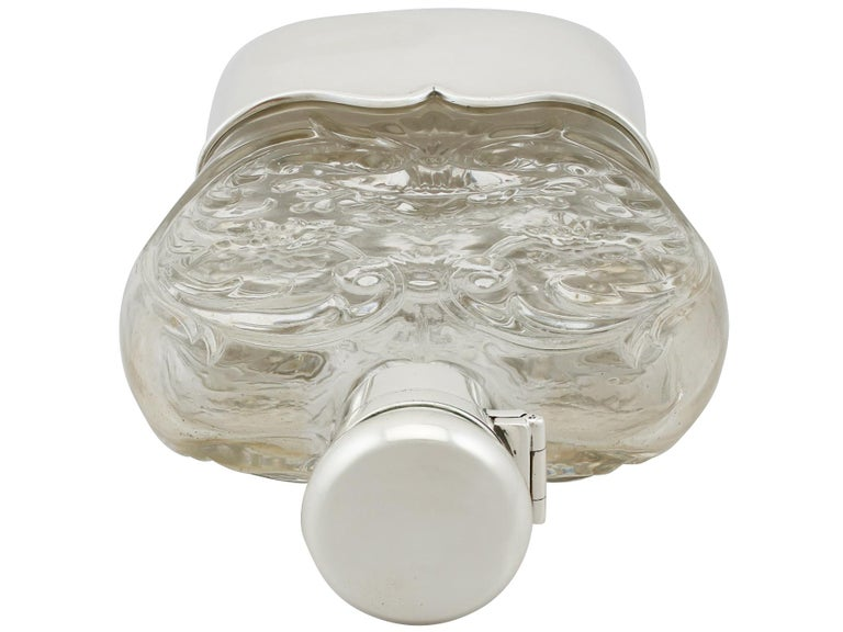 Antique American Sterling Silver and Glass Hip Flask, 1897 For Sale 3