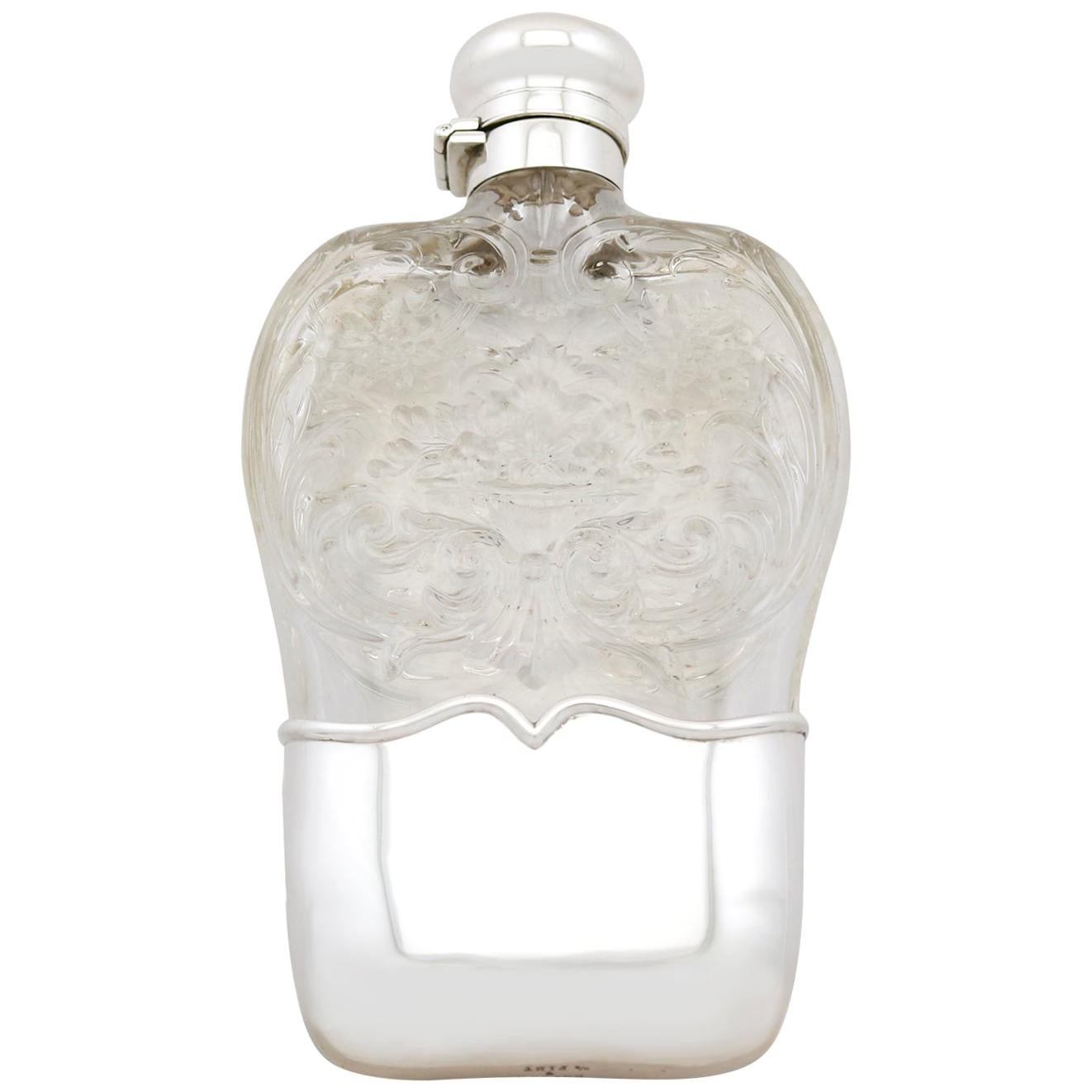 Antique American Sterling Silver and Glass Hip Flask, 1897