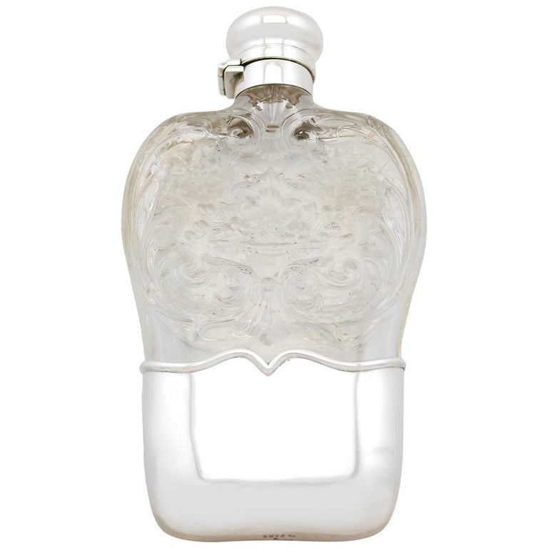 Antique American Sterling Silver and Glass Hip Flask, 1897 For Sale