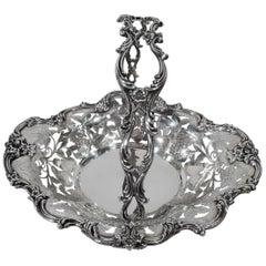 Antique American Sterling Silver Basket with Fruits and Flowers