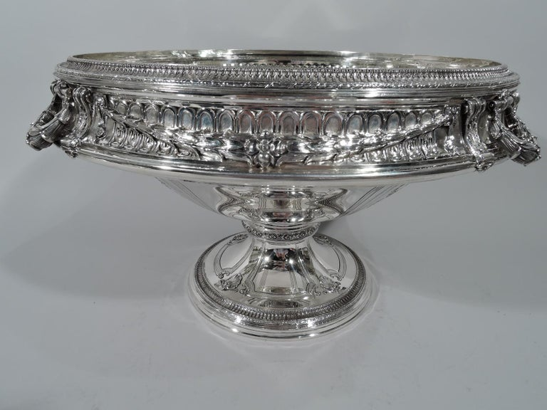 Adam Style Antique American Sterling Silver Centerpiece Bowl on Plateau For Sale