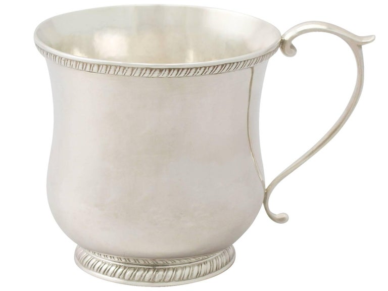 Mid-19th Century Antique American Sterling Silver Christening Mug For Sale