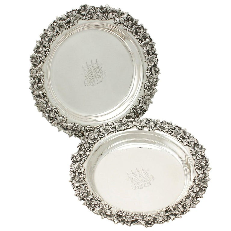 Antique American Sterling Silver Coasters, circa 1900 For Sale