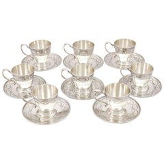 Antique American Sterling Silver Cups and Saucers Set by Tiffany & Co.