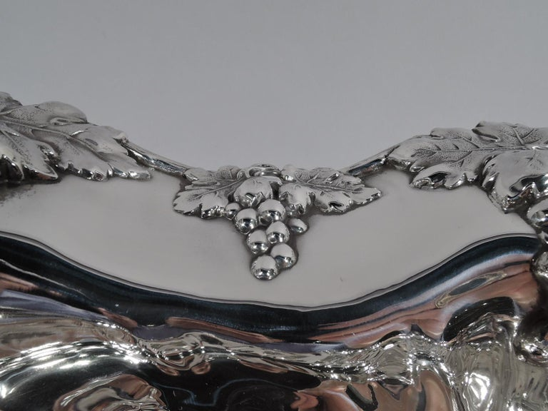 19th Century Antique American Sterling Silver Grapevine Centerpiece Bowl For Sale