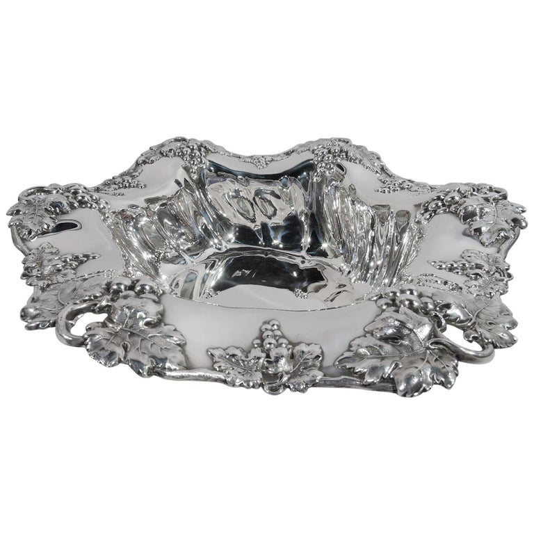 Antique American Sterling Silver Grapevine Centerpiece Bowl For Sale