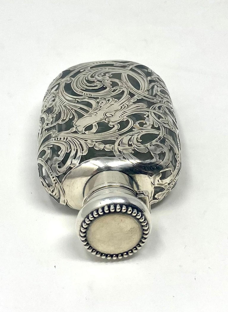 20th Century Antique American Sterling Silver Overlay Flask, circa 1900 For Sale