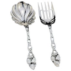 Antique American Sterling Silver Pair of Serving Spoon and Fork