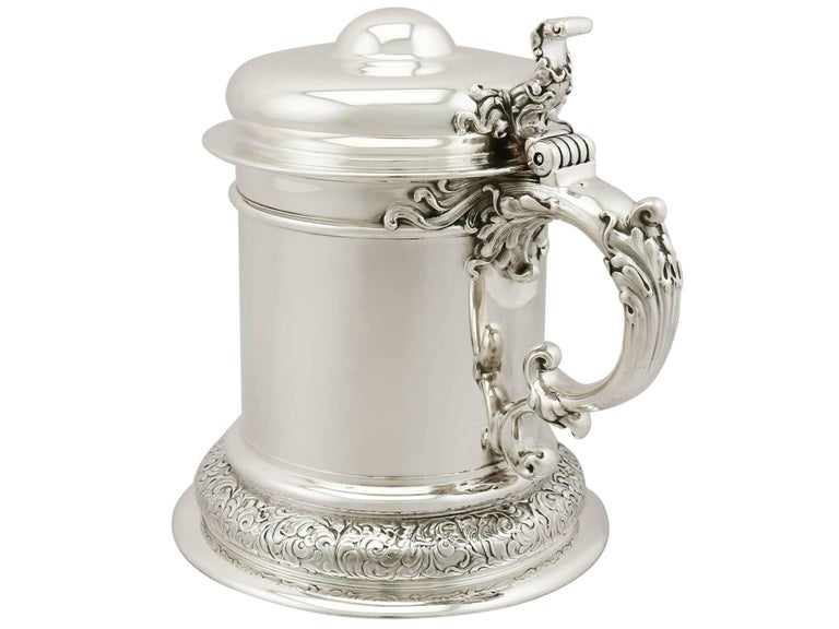 Antique American Sterling Silver Quart Tankard For Sale 1