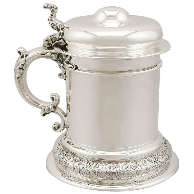 Antique American Sterling Silver Quart Tankard For Sale