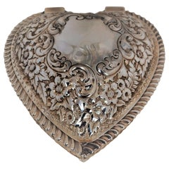 Antique American Sterling Silver Repoussé Heart Box