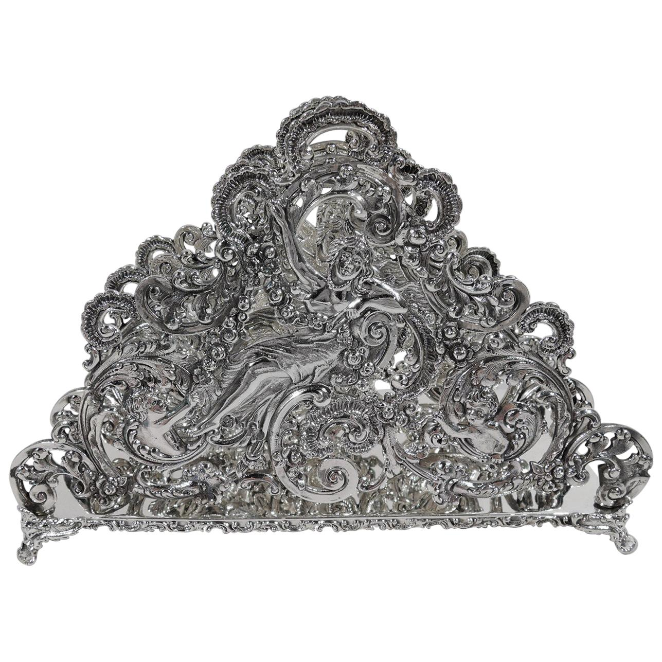 Antique American Sterling Silver Romantic Art Nouveau Rococo Letter Rack