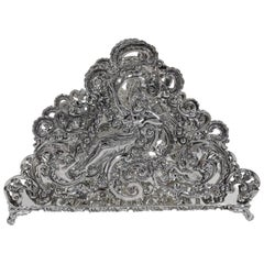 Antique American Sterling Silver Romantic Art Nouveau Rococo Letter Rack